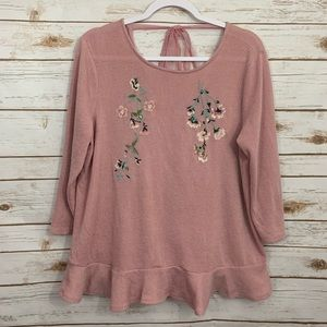 Lauren Conrad Embroidered Floral Tie Back Sweater